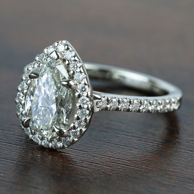 1.73 Carat Pear Halo Diamond Engagement Ring angle 2