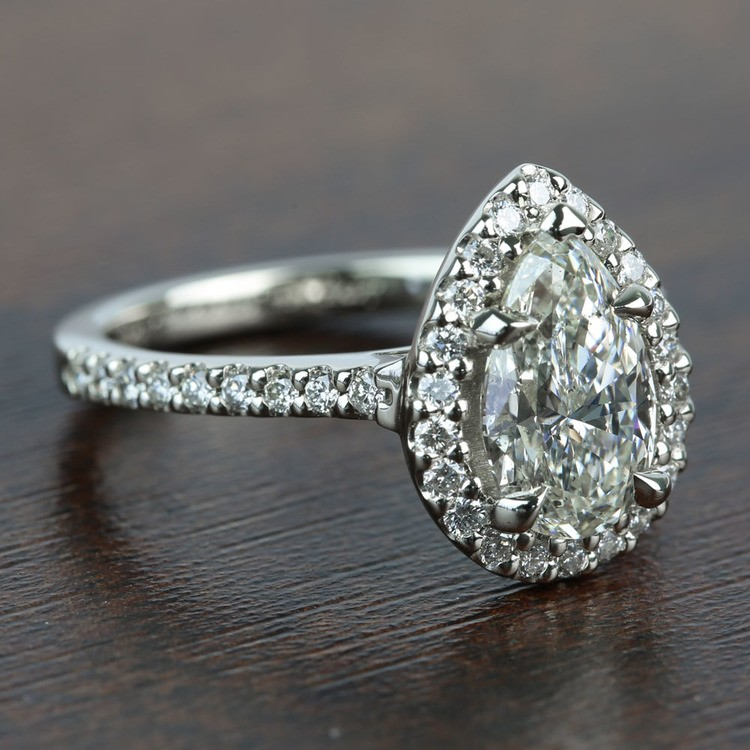 1.73 Carat Pear Halo Diamond Engagement Ring angle 3
