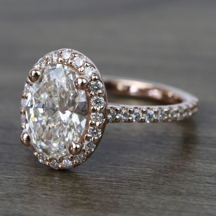 1.76 Carat Oval Halo Diamond Engagement Ring angle 2