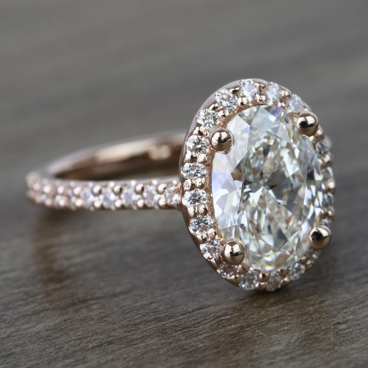 1.76 Carat Oval Halo Diamond Engagement Ring angle 3