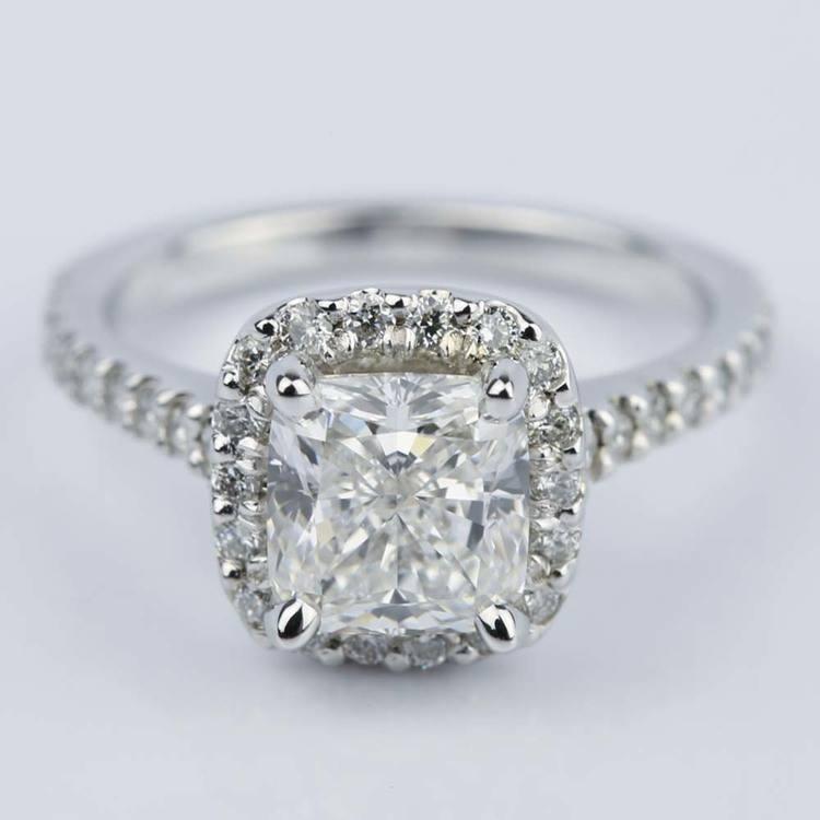 180 carat cushion cut diamond halo engagement ring