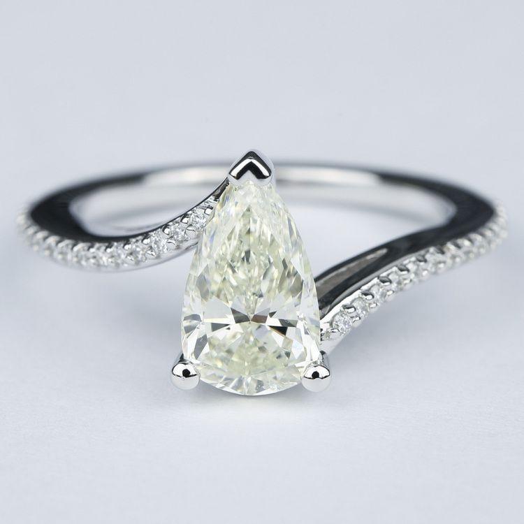 Swirl Style Pear Diamond Engagement Ring (1.83 Carat)