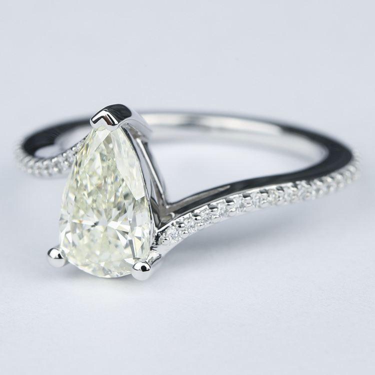 Swirl Style Pear Diamond Engagement Ring (1.83 Carat) angle 2