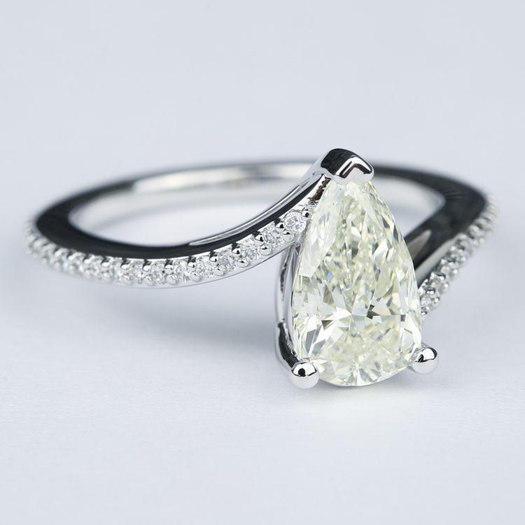 Swirl Style Pear Diamond Engagement Ring (1.83 Carat) angle 3