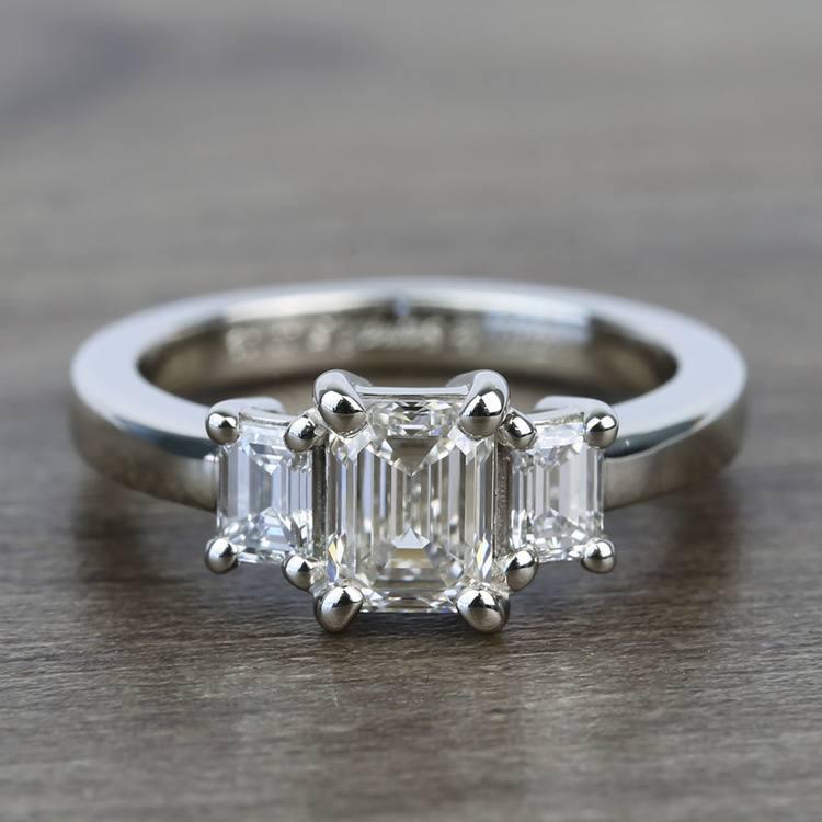 1 Carat 3 Stone Emerald Diamond Engagement Ring