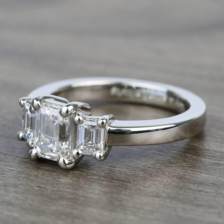 1 Carat 3 Stone Emerald Diamond Engagement Ring angle 2