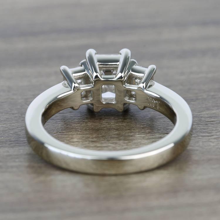 1 Carat 3 Stone Emerald Diamond Engagement Ring angle 4