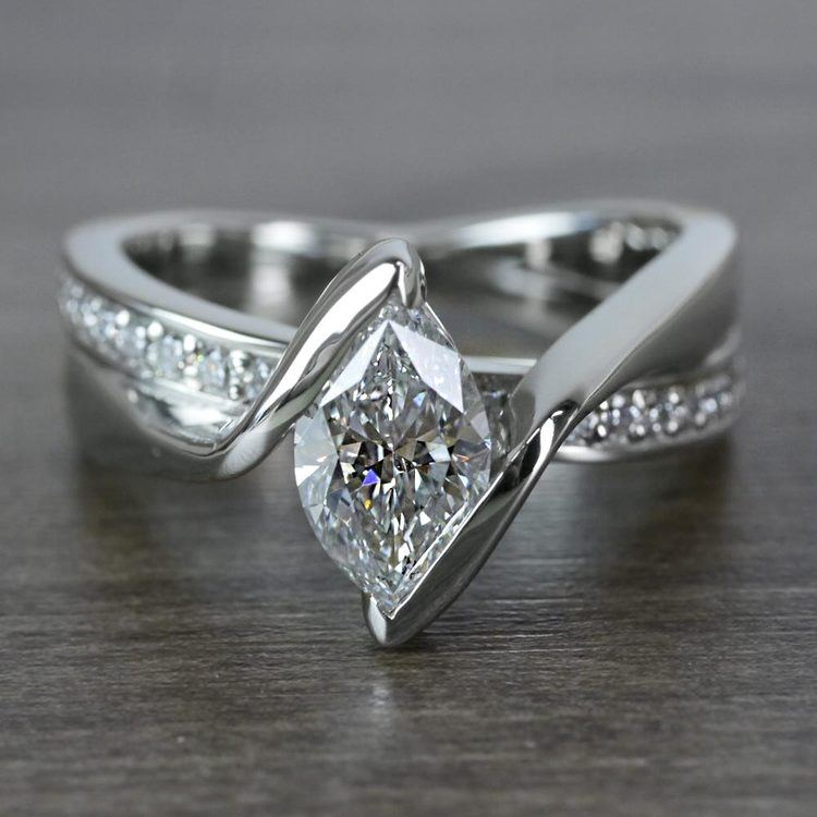 1 Carat Bridge Football Shape Marquise Diamond Ring