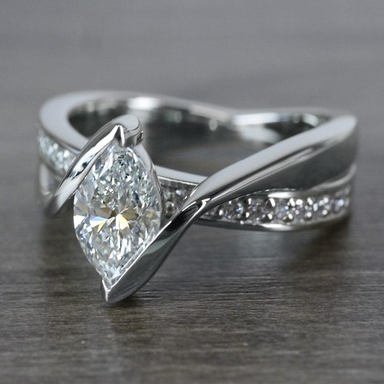 1 Carat Bridge Football Shape Marquise Diamond Ring angle 2