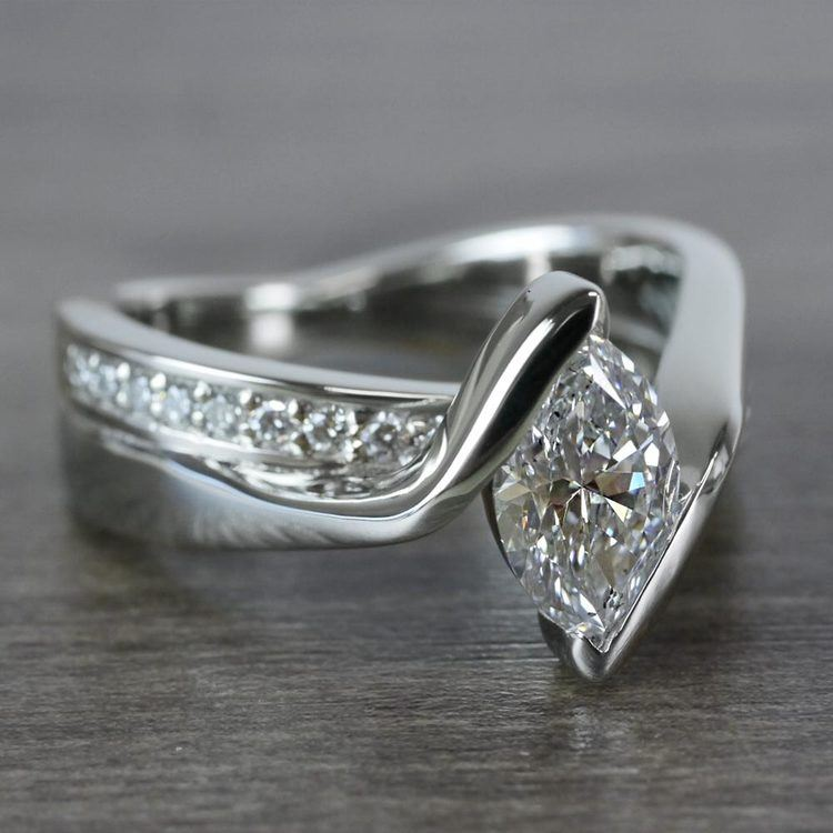 1 Carat Bridge Football Shape Marquise Diamond Ring angle 3