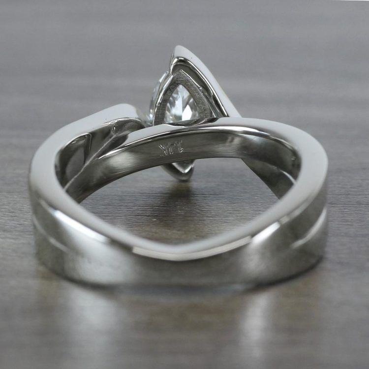 1 Carat Bridge Football Shape Marquise Diamond Ring angle 4