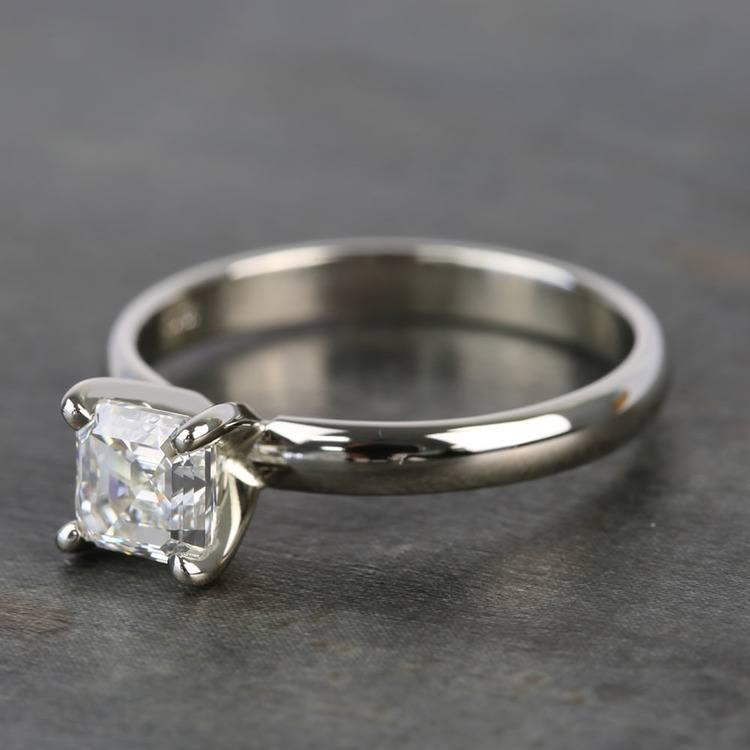 1 Carat Classic Asscher Solitaire Diamond Engagement Ring angle 2