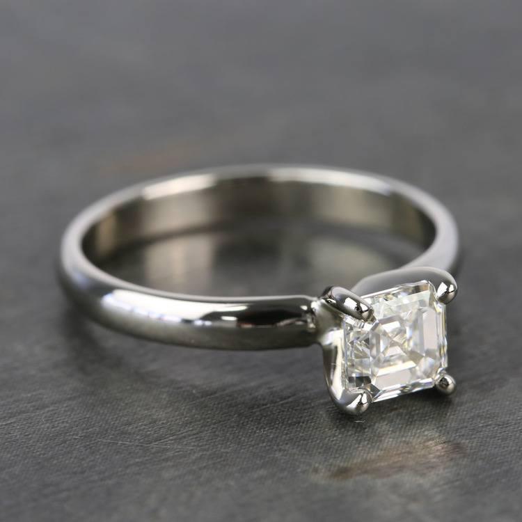 1 Carat Classic Asscher Solitaire Diamond Engagement Ring angle 3
