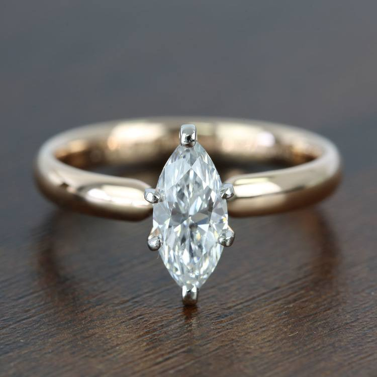 1 Carat Comfort-Fit Solitaire Marquise Diamond Engagement Ring