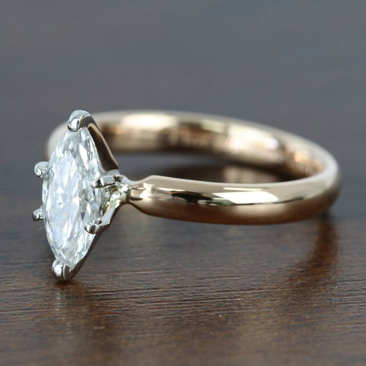 1 Carat Comfort-Fit Solitaire Marquise Diamond Engagement Ring angle 2