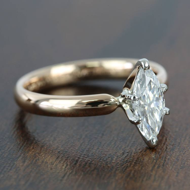 1 Carat Comfort-Fit Solitaire Marquise Diamond Engagement Ring angle 3