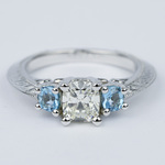 Vintage Cushion Diamond Engagement Ring With Aquamarines - small