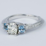 Vintage Cushion Diamond Engagement Ring With Aquamarines - small angle 2