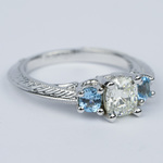 Vintage Cushion Diamond Engagement Ring With Aquamarines - small angle 3