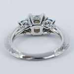 Vintage Cushion Diamond Engagement Ring With Aquamarines - small angle 4