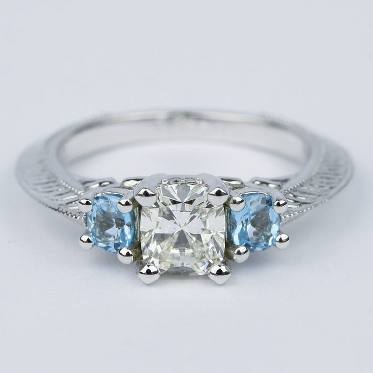 Vintage Cushion Diamond Engagement Ring With Aquamarines