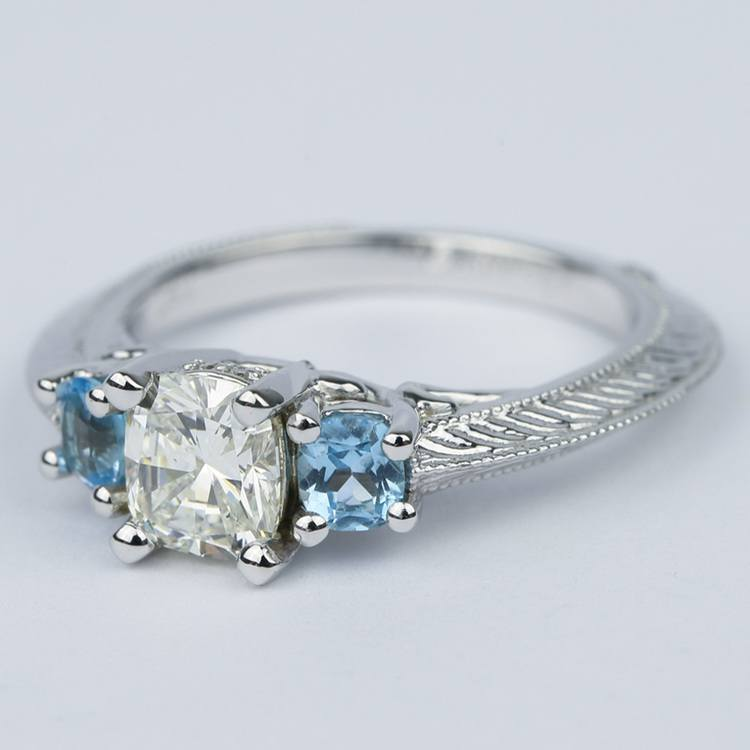 Vintage Cushion Diamond Engagement Ring With Aquamarines angle 2