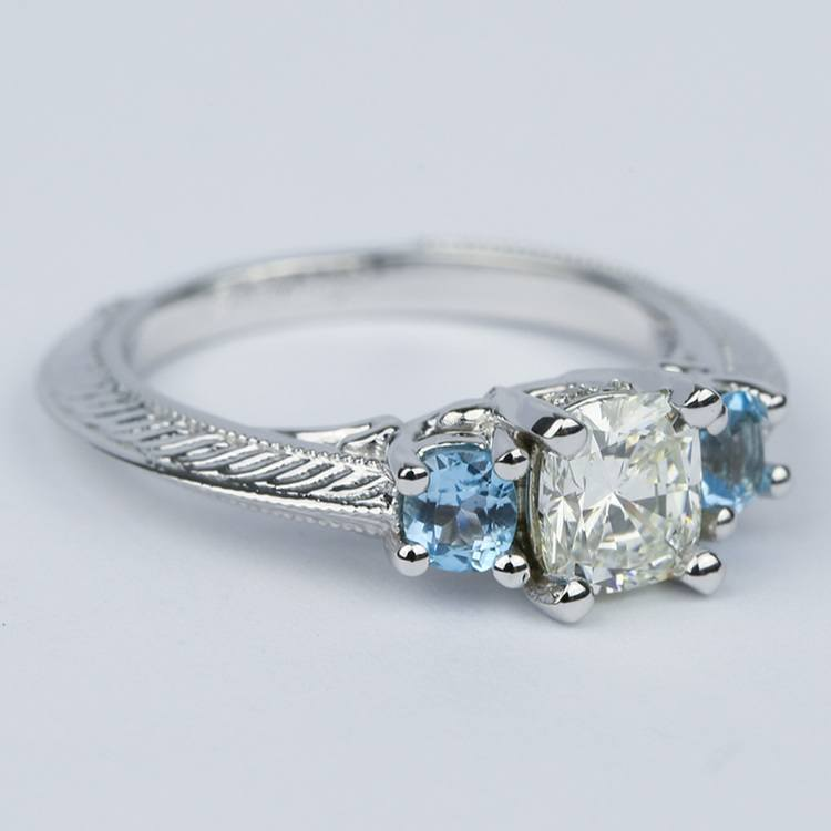 Vintage Cushion Diamond Engagement Ring With Aquamarines angle 3