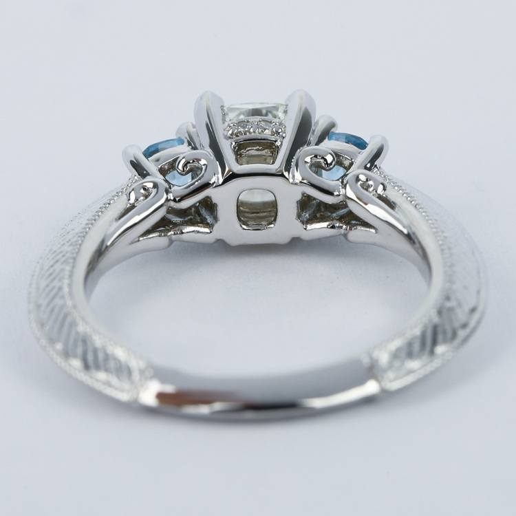 Vintage Cushion Diamond Engagement Ring With Aquamarines angle 4