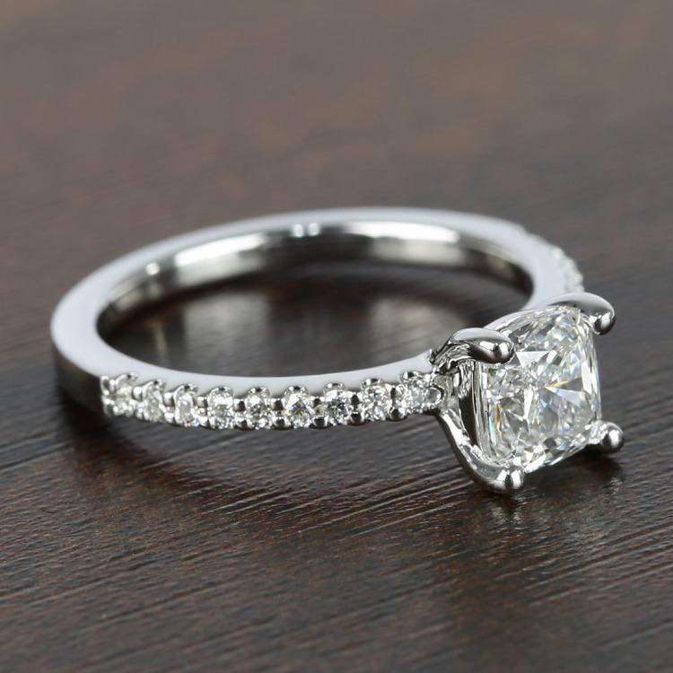 1 Carat Cushion Diamond Scallop Engagement Ring  angle 3