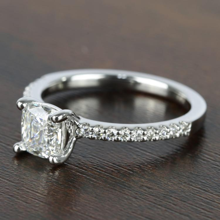 1 Carat Cushion Diamond Scallop Engagement Ring  angle 2