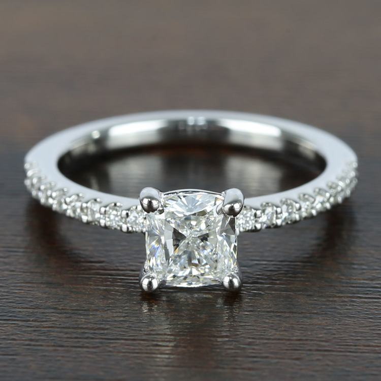 1 Carat Cushion Diamond Scallop Engagement Ring