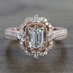 1 Carat Custom Halo Antique Emerald Cut Engagement Ring - small