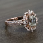 1 Carat Custom Halo Antique Emerald Cut Engagement Ring - small angle 3