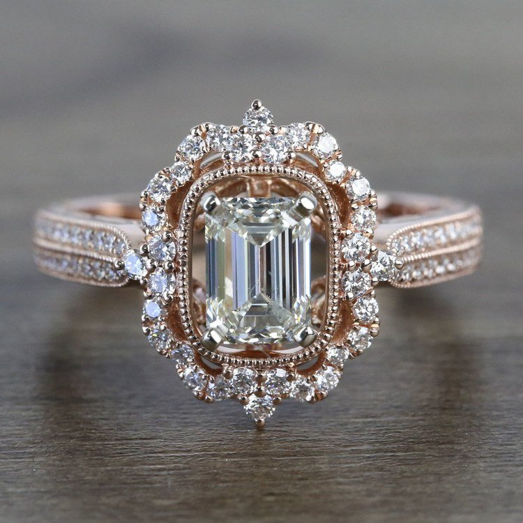 1 Carat Custom Halo Antique Emerald Cut Engagement Ring