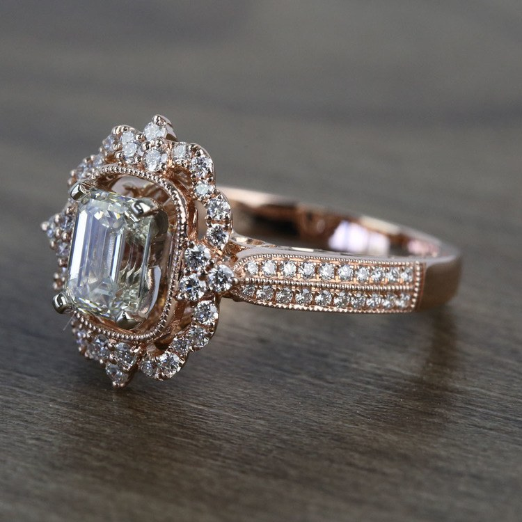 1 Carat Custom Halo Antique Emerald Cut Engagement Ring angle 2