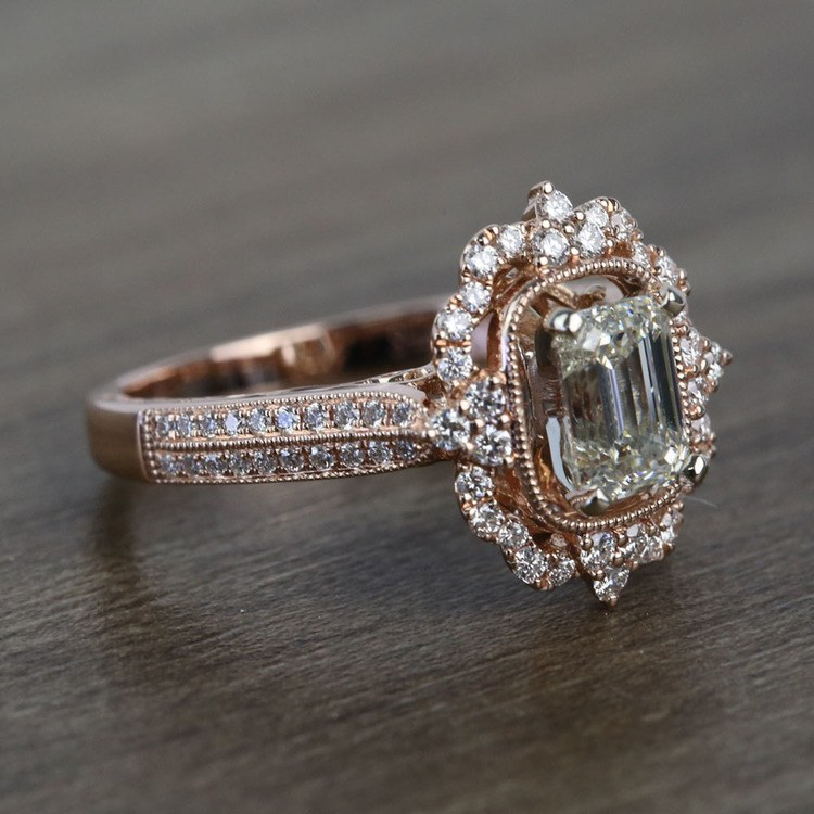 1 Carat Custom Halo Antique Emerald Cut Engagement Ring angle 3