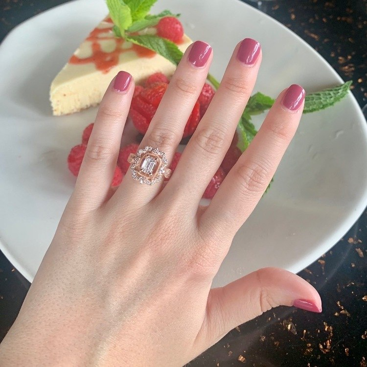 1 Carat Custom Halo Antique Emerald Cut Engagement Ring angle 5