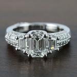 1 Carat Custom Emerald Diamond Engagement Ring - small