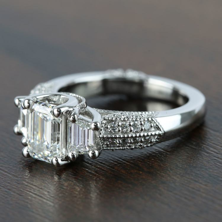 1 Carat Custom Emerald Diamond Engagement Ring angle 2