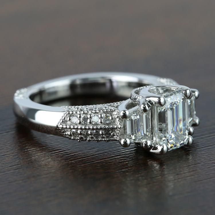 1 Carat Custom Emerald Diamond Engagement Ring angle 3