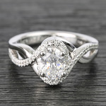 1 Carat Custom Oval Bypass Diamond Engagement Ring - small
