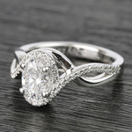 1 Carat Custom Oval Bypass Diamond Engagement Ring - small angle 2