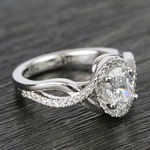 1 Carat Custom Oval Bypass Diamond Engagement Ring - small angle 3