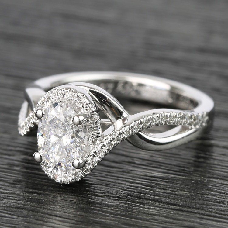 1 Carat Custom Oval Bypass Diamond Engagement Ring angle 2