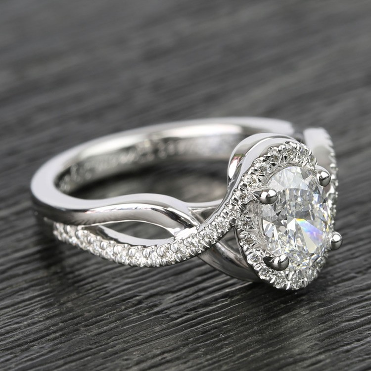 1 Carat Custom Oval Bypass Diamond Engagement Ring angle 3