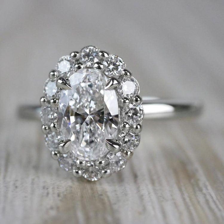 1 Carat Customized Vintage Halo Oval Diamond Ring angle 2