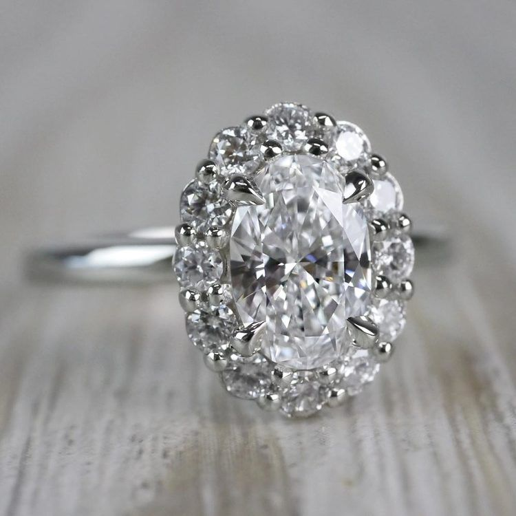 1 Carat Customized Vintage Halo Oval Diamond Ring angle 3