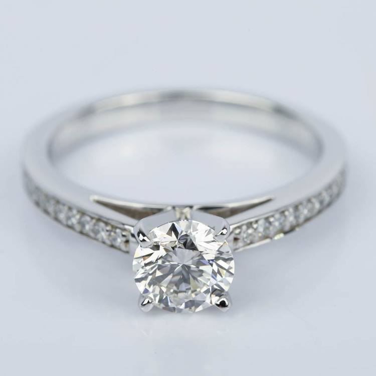 1 Carat Diamond Cathedral Engagement Ring in White Gold
