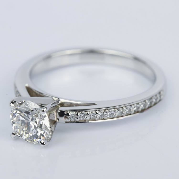 1 Carat Diamond Cathedral Engagement Ring in White Gold angle 2