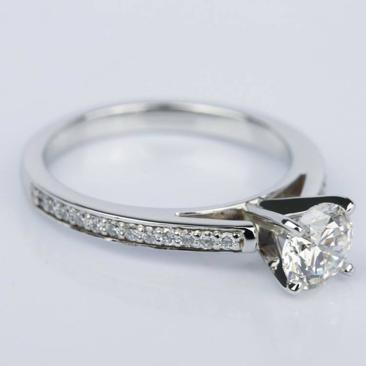 1 Carat Diamond Cathedral Engagement Ring in White Gold angle 3